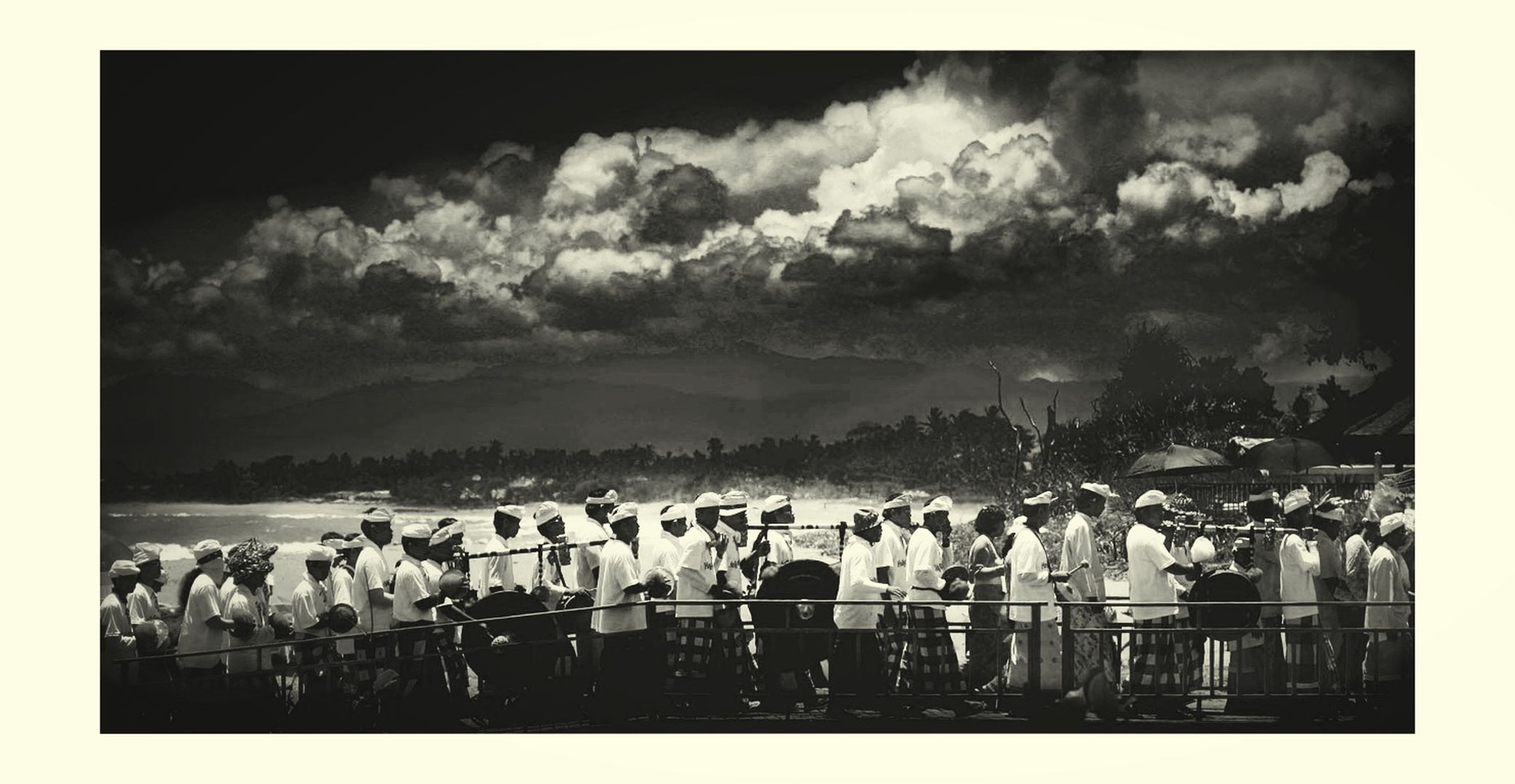 transfer print, auto post production filter, sky, large group of people, cloud - sky, animal themes, crowd, cloudy, flock of birds, panoramic, outdoors, cloud, togetherness, bird, mixed age range, nature, day, wildlife
