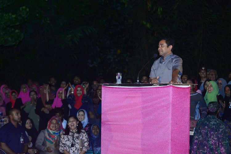Maldives President Abdulla Yameen Abdul Gayoom speaking at the campohn rally held on west park, male' maldives on 7 February 2018 President Abdulla Yameen Abdul Gayoom Crowd Day Large Group Of People Leisure Activity Lifestyles Outdoors People Rally Real People Togetherness Women Young Women