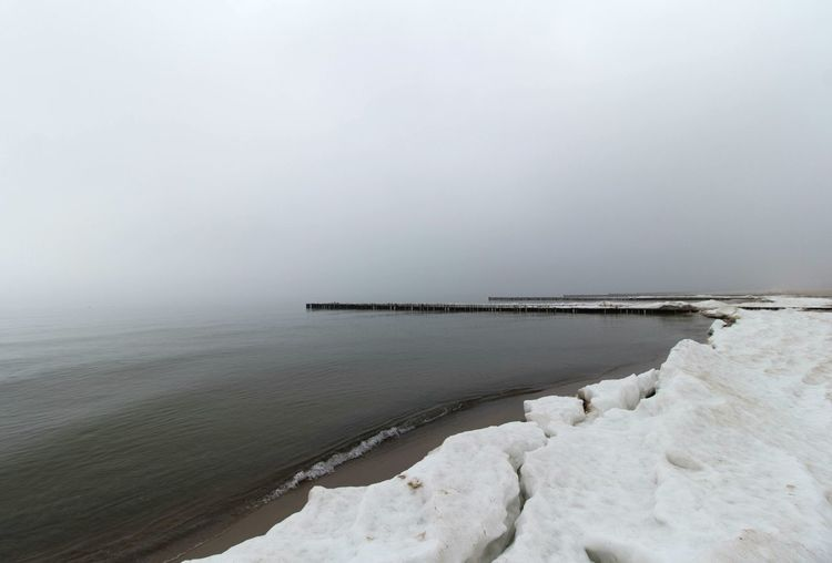 Tranquility Environment Sea Landscape Beach Day Water's Edge No People Fog Water Horizon Over Water Outdoors Beauty In Nature Nature Sky Foggy Landscape Foggy Morning Foggy Day Foggy Foggy Weather Snow Cold Temperature Baltic Sea Winter Baltic Sea Winter