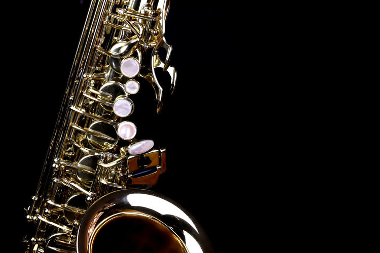 Music Instrument Alto Saxophone, Saxophone Isolated on black Music Musical Instrument Studio Shot Arts Culture And Entertainment Black Background Wind Instrument Metal Indoors  Shiny Copy Space Gold Colored No People Brass Instrument  Cut Out Close-up Saxophone Brass Musical Equipment Single Object Reflection Silver Colored