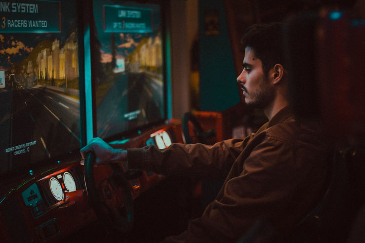 Jose EyeEm Of The Week The Week On EyeEm Indoors  Lifestyles Night Real People Side View Technology Videogames Young Adult Young Men Fresh On Market 2018