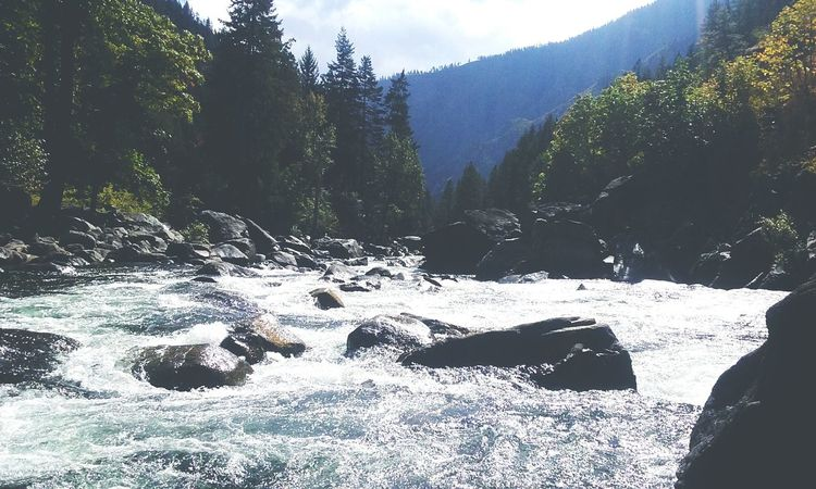 Love is scenery!! ❤📷🌲🌊 * * Love Photography Quickpic No People Low Angle View Sky Outdoors Day Beauty In Nature Nature Water Clear Sky Creekside Creek Leavenworth Wa Awesome_view Beautiful Place