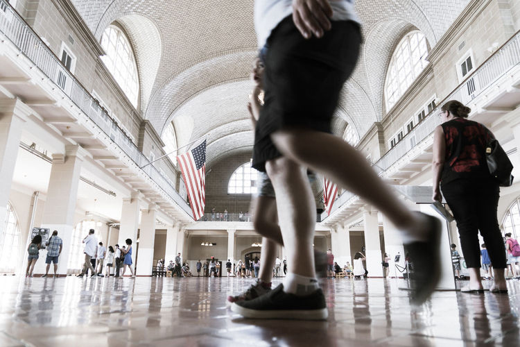 American Ellis Island  New Jersey New York New York City Statue Of Liberty USA Adult Adults Only Architecture Blurred Motion Day Full Length Group Of People Hall History Indoors  Lifestyles Low Angle View Men Motion Museum Only Men People Registration Colour Your Horizn