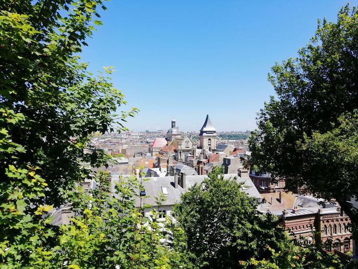 View of townscape against clear sky