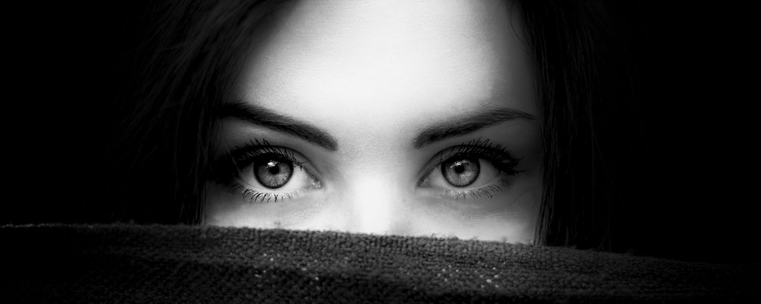 My new banner Adult Adults Only Beautiful Woman Beauty Close-up Eyebrow Fear Hiding Horror Human Body Part Human Eye Human Face Indoors  Looking At Camera One Person One Woman Only One Young Woman Only Only Women People Portrait Real People Shock Surprise Young Adult Young Women