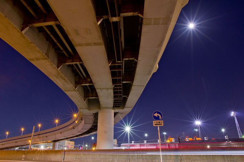 Illuminated Night Architecture Transportation Built Structure Street Light Road Street City Lighting Equipment Connection Motion Sky Long Exposure No People Elevated Road Low Angle View Lens Flare Light Trail Overpass Outdoors Light Japan Tokyo Highway