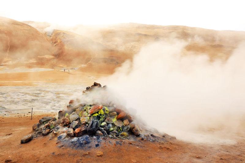 Smoke emitting from hot spring