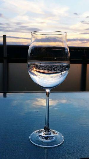 Light And Reflection Glass Reflection Wineglass Sunset Water Reflections