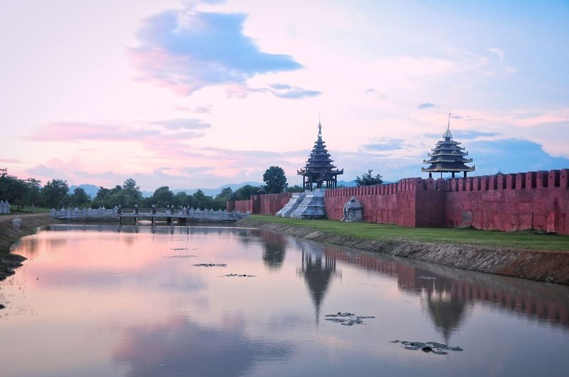 Hongsawadee old city mote located in the King Naresuan Movie Studio, near Kanchanaburi, Thailand. Architecture Built Structure Cloud - Sky Day Hongsawadee Mote Mon People No People Outdoors Reflection Sky Tourism Travel Destinations Water Waterfront