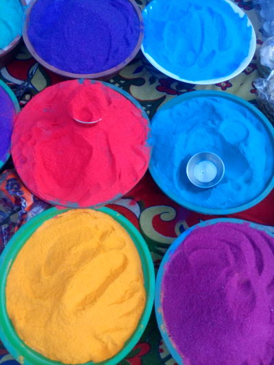 Art And Craft, Blue Choice Circle Close-up Day Diwali For Sale Holi Indian Culture, Merchandise Multi Colored No People Outdoors Powder Paint Religion Retail  Retail  Variation