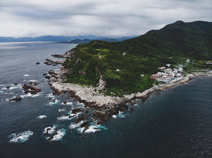 A beautiful coast of shape caught by drone, taiwan