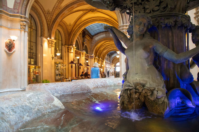 Daonaunixenbrunnen at Palais Ferstel. Architecture Brunnenfigur Donaunixenbrunnen Fernkorns Palais Ferstel Art And Craft Brunnen Fontain History Illuminated Indoors  Interior Interior Design Marmor Representation Sculpture Statue Travel Destinations Wien
