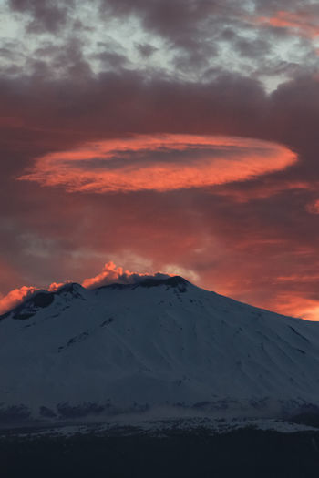 Catania Mountain Sky Scenics - Nature Beauty In Nature Cloud - Sky Sunset Tranquil Scene Tranquility Snow Cold Temperature Winter No People Non-urban Scene Idyllic Nature Environment Landscape Volcano Snowcapped Mountain Mountain Peak