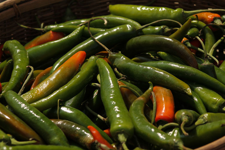 Close-up of green chili peppers for sale in market