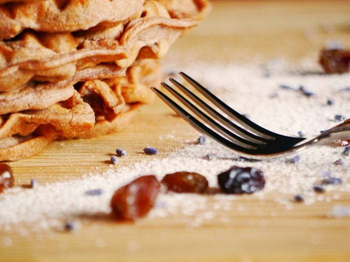 Waffles Close-up Cranberries Day Dry Fruits Food Food And Drink Fork Freshness Indoors  Lavender No People Plate Powdered Sugar Ready-to-eat Still Life Table Wood Table