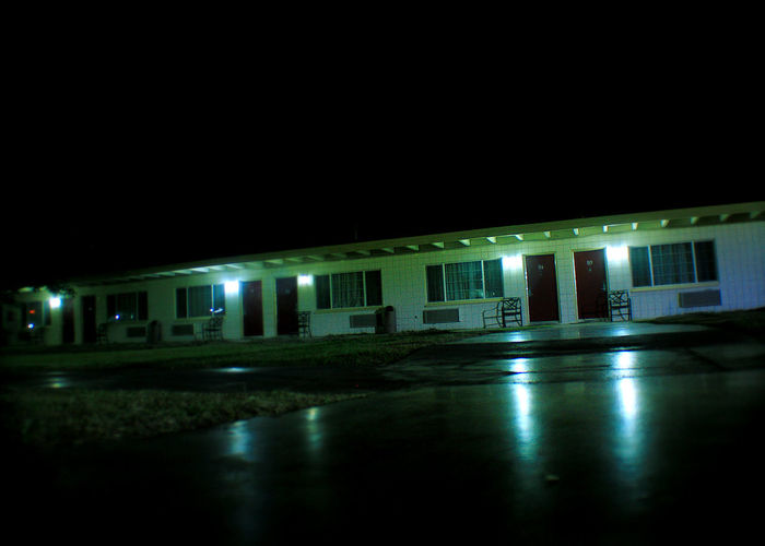 Night Photography Architecture Building Exterior Built Structure Cinder Block Motel Dark Illuminated Motel At Night Night Night Motel No People