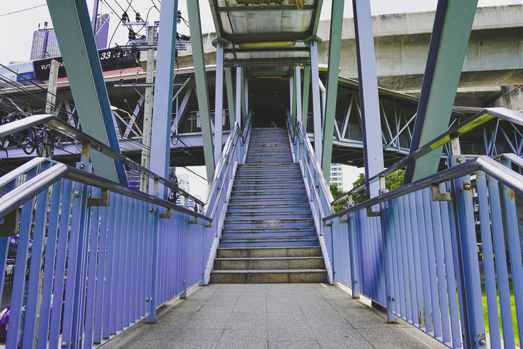 Up Thai Thailand South East Asia ASIA Cinematography Bangkok City Bangkok Bangkok Thailand. Cinematic Architecture Built Structure Footbridge Steps Stairs Hand Rail Bridge Narrow Bridge - Man Made Structure Stairway