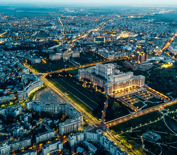 Building Exterior City Cityscape Architecture Built Structure Illuminated High Angle View Building Aerial View Night Nature City Life Travel Destinations No People Transportation Dusk Road Connection Outdoors Office Building Exterior Bucharest Palace Of Parliament Romania