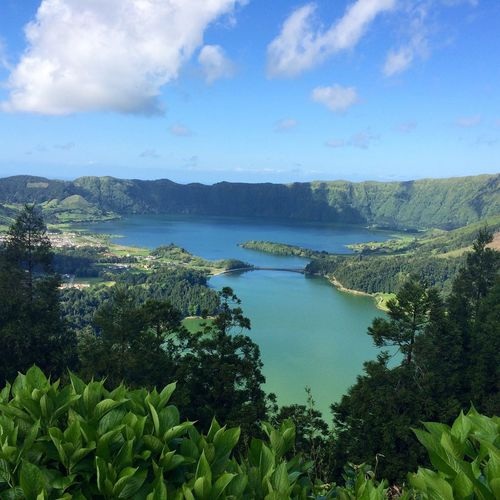 Lake And Mountains At Sao Miguel Against Sky