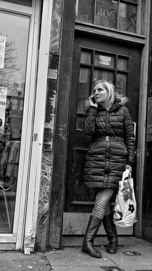Full Length One Person Front View Outdoors Real People Strangers In Transit Waiting For The Bus Streets Of Glasgow City Life Black And White
