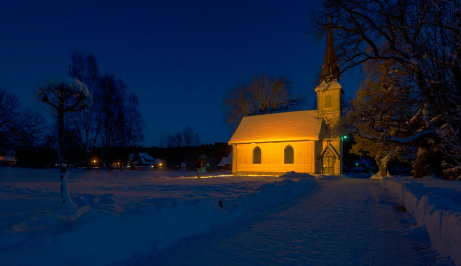Holzkirche Elend Tree Snow Winter Cold Temperature Architecture Building Exterior Built Structure Night Building Religion Illuminated Place Of Worship Belief Plant Nature Spirituality Sky Dusk No People Winter Kirche Harz Harzmountains Harz Mountains, Germany Harzreise