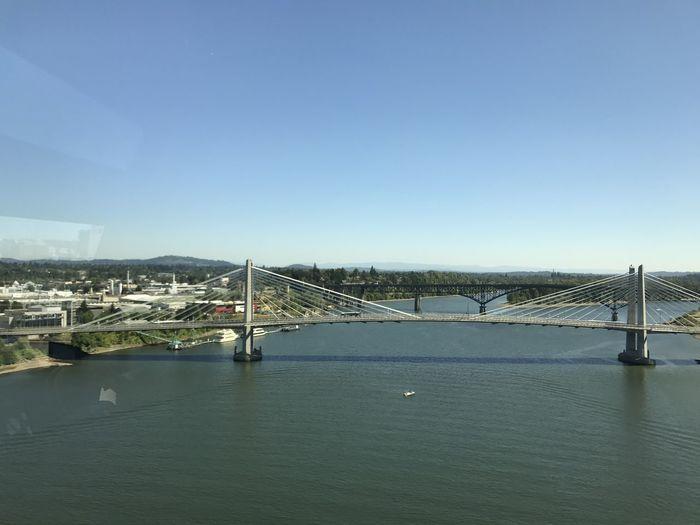 View of suspension bridge over river