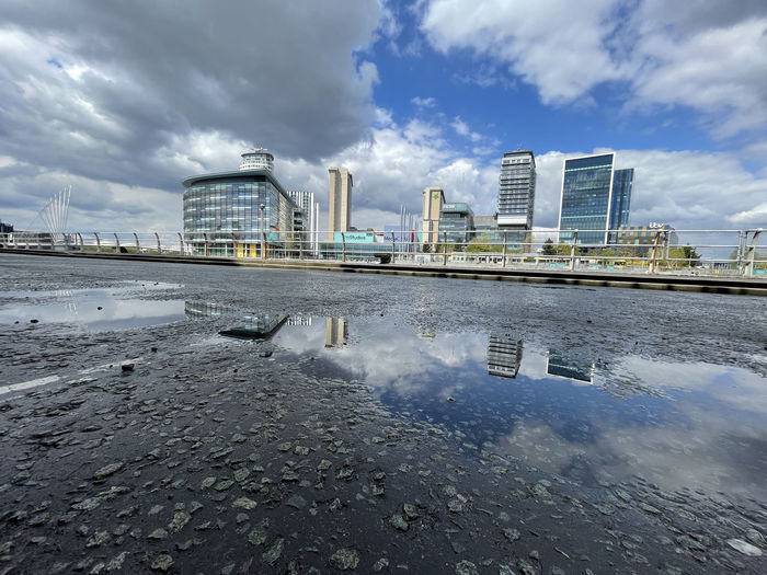 Reflection of buildings in puddle on river against sky