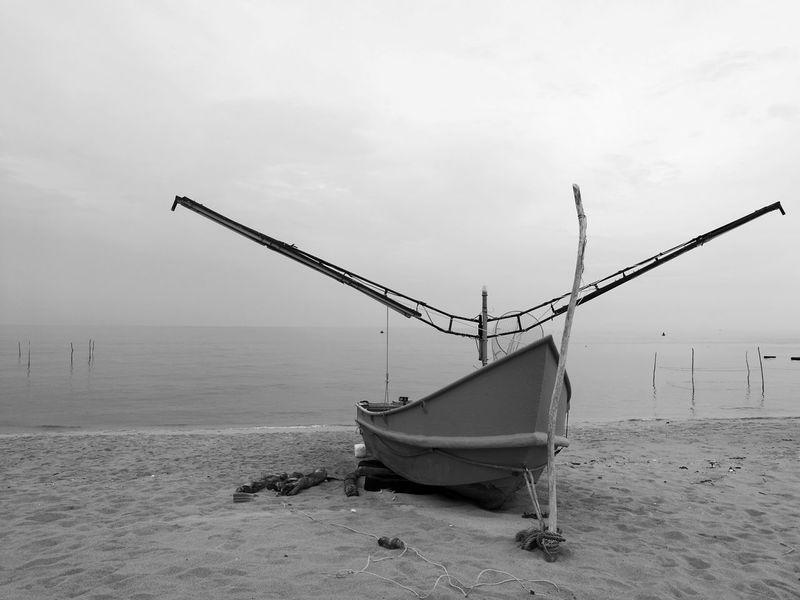 """Squid boat"" Boat Boats⛵️ Boats Squid Boat Outdoors Day Fishing Boat Sea Sand And Sea Sea And Sky"