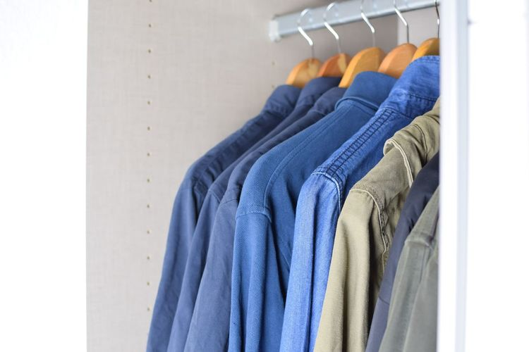 manny of shirt hanging in Cloth Cabinet Background Object Shirt Lifestyles View Colour Cabinet Clothesline Home Room Indoor Coathanger Technology Multi Colored Blue Business Textile Clothing Close-up Closet Clothing Store Medicine Cabinet
