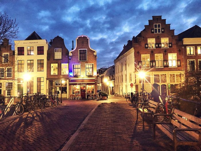 Utrecht Canal Houses Europe Twilight Bridge - Man Made Structure Dutch Culture Canal Houses Holland Netherlands Canal Dutch House Gable Roof Utrecht Building Exterior Architecture Built Structure Illuminated City Night Sky Street Cloud - Sky Residential District No People Road Street Light