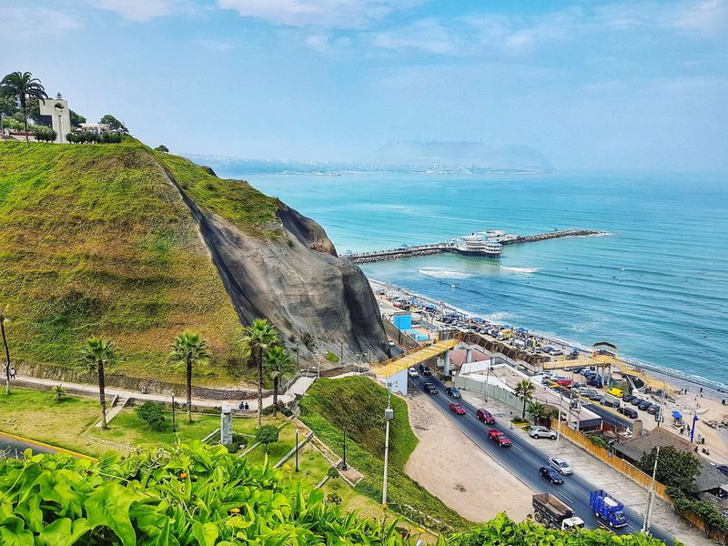 Miraflores Lima Water Sea Beach Blue Sky Horizon Over Water Surf Coast