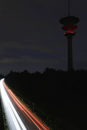 Speed Night Light Trail Long Exposure Motion Illuminated Lighting Equipment Traffic Red Transportation Road Street Light Outdoors Stoplight No People Sky Nature Germany🇩🇪 Waghäusel Wiesental