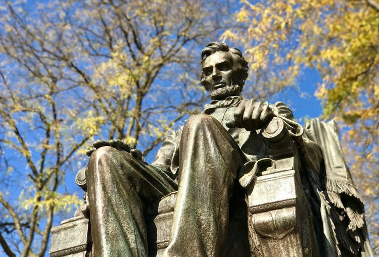 Abraham Lincoln, Grant Park, Chicago, Illinois Abraham Lincoln Statue Chicago Grant Park Illinois Statue Architecture Branch Day Fall Human Representation Leaves Low Angle View No People Outdoors Sculpture Shadows Sky Statue Sunlight Tree First Eyeem Photo