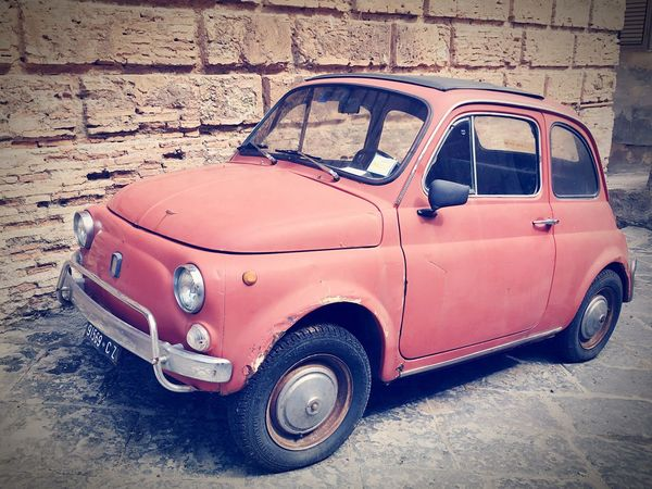 Pizzo Fiat500 Italy Vintage Oldschool Land Vehicle Mode Of Transport Transportation Car Street Old Road Old-fashioned Vintage Car Red Parking Nostalgia Roadside Stationary Day Damaged Outdoors No People Van
