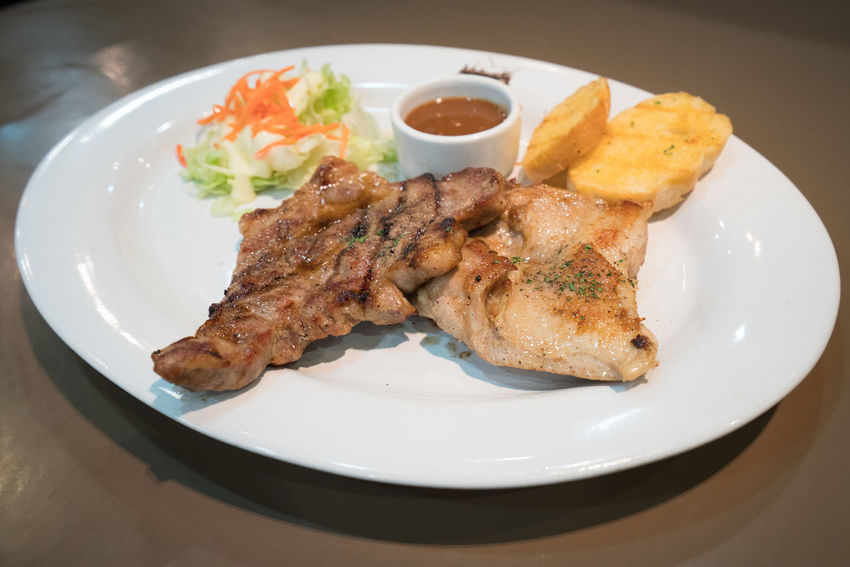 Steak Pork and Chicken Bread Food Healthy Eating Indoors  Meal Meat Plate Pork Ready-to-eat Sony A7RII Steaks