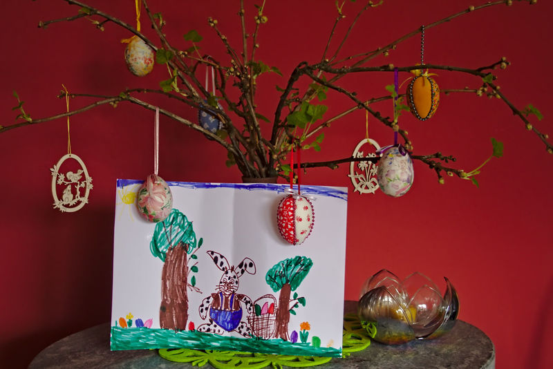 Art Art And Craft Children Drawing Close-up Creativity Decoration Easter Decoration Easter Eggs Easter Ready Hanging Home Interior Human Representation Illuminated Indoors  Lantern Lighting Equipment Low Angle View Night No People Red Religion Spring At Home Tree Wall - Building Feature