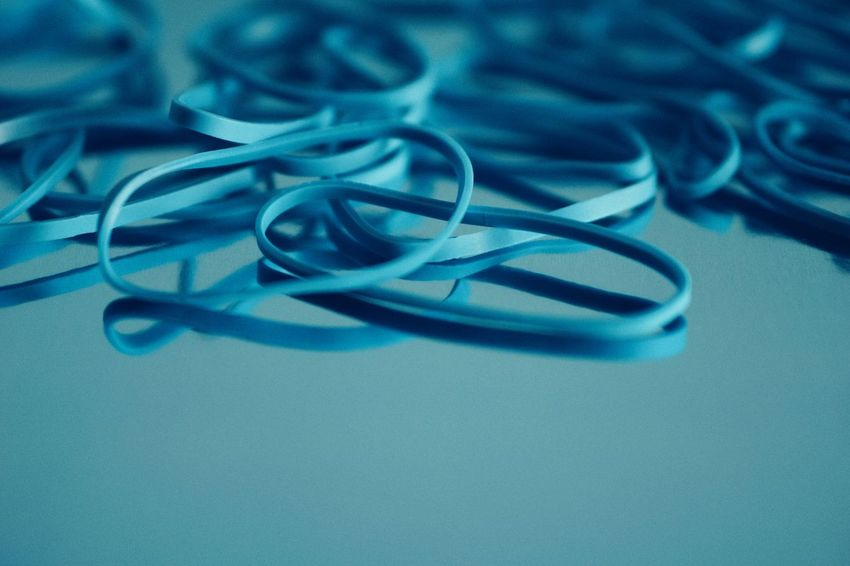 Elastic Band Blue Abstract Abstract Backgrounds Close-up Things That Go Together