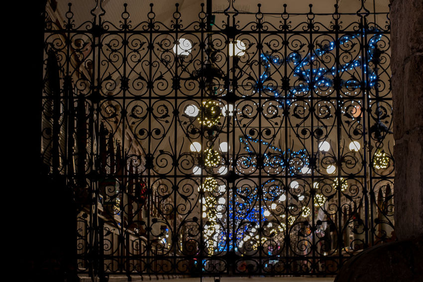 A FENCE IN THE NIGHT Architecture Close-up Day Indoors  Lights In The Dark Night No People Pattern Window