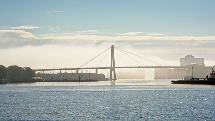 Stavanger bridge on a foggy morning Ford Lysefjord Morning Norway Stavanger Architecture Bridge Bridge - Man Made Structure Built Structure City Engineering Fog Foggy Mist Sky Stavanger Bridge Suspension Bridge Transportation Water Waterfront