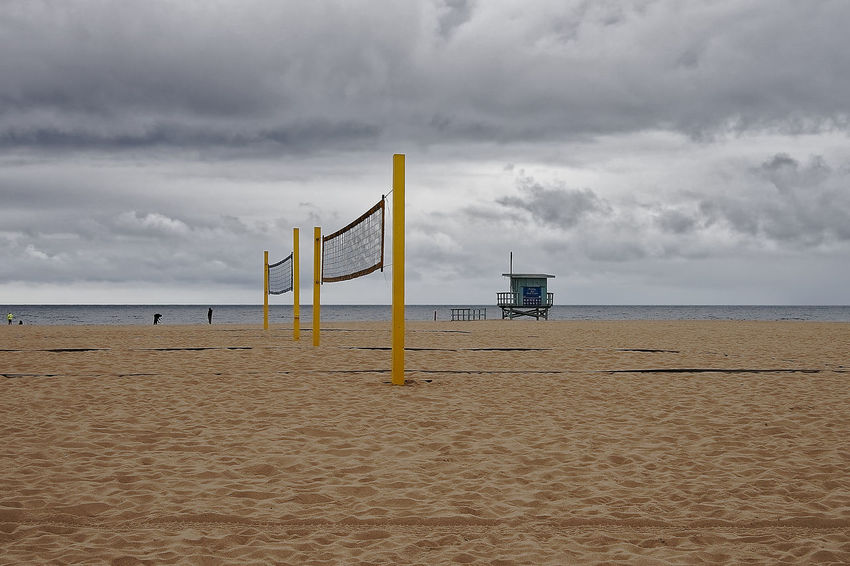 Pacific Winter Beach Beach Volleyball Beauty In Nature Cloud - Sky Day Hermosa Horizon Over Water Lifeguard Hut Nature No People Outdoors Pacific Ocean Sand Scenics Sea Sky Tranquil Scene Tranquility Water