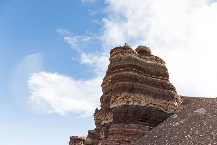 Low angle view of rock formations against sky