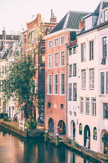 Old dutch houses along the canal in Utrecht the Netherlands City Cityscape Houses Netherlands Architecture Building Exterior Buildings Canal City Day Dutch Historic Outdoors Outdoors Photograpghy  Travel Destinations Urban Utrecht Water Waterfront