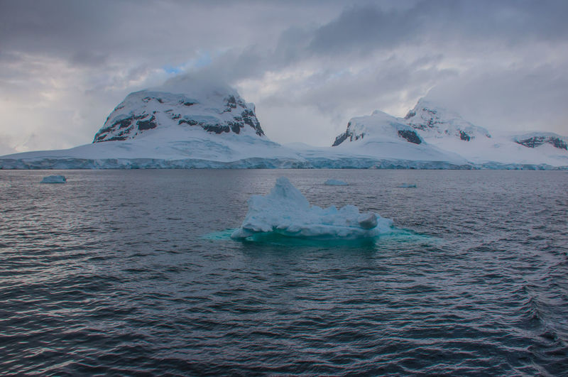 Iceberg In Sea Against Cloudy Sky