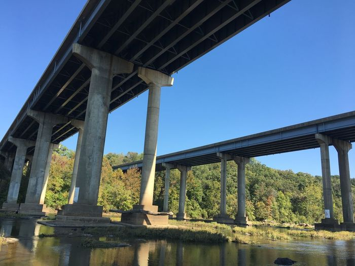 Clear Sky Bridge - Man Made Structure Built Structure Architectural Column Connection Architecture Day Low Angle View Tree Sky Outdoors Nature No People Bridge Water Underneath Scenics
