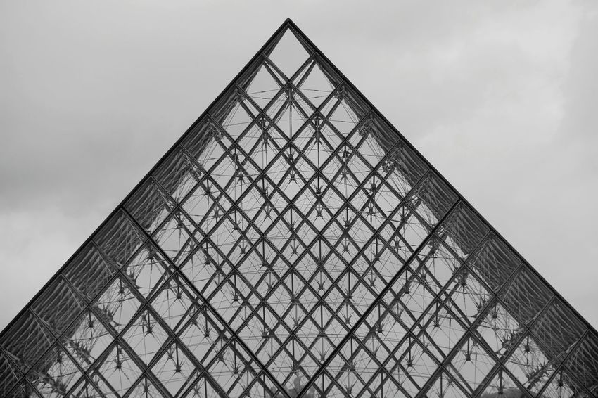 Triangle Shape Architecture Low Angle View Built Structure Pyramid Day No People Sky Modern Building Exterior Outdoors Prison Pyramide Du Louvre Welcome To Black