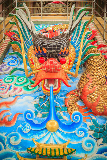 Colorful dragon sculpture at the entrance stair in Chinese temple Dragon Dragon Sculpture Dragon Scales Dragon Statue Dragon Statues