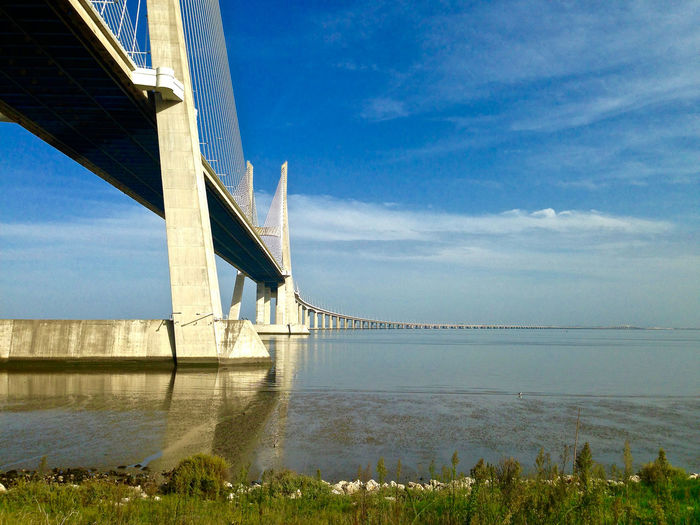 Architecture Blue Bridge Bridge - Man Made Structure Built Structure Cloud Cloud - Sky Connection Day Engineering Long Nature No People Ocean Outdoors River Scenics Sky SUPPORT Suspension Bridge Tourism Tranquil Scene Tranquility Travel Destinations Water