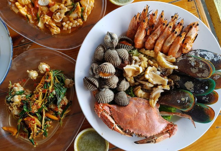 High angle view of seafood served on table