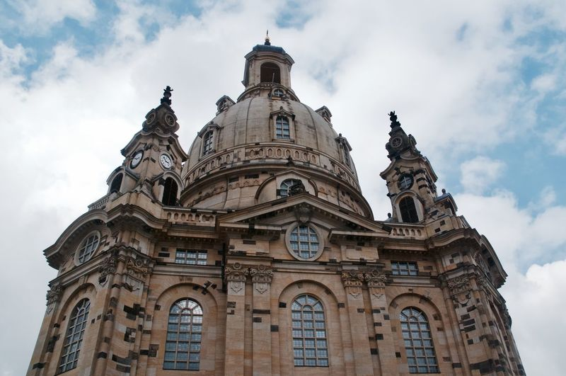 Architecture Baroque Style Building Exterior Built Structure Cloud - Sky Day Dome Dresden Frauenkirche Frauenkirche Dresden History Low Angle View No People Outdoors Place Of Worship Religion Sculpture Sky Spirituality Statue Travel Destinations