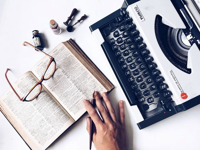 Publishing Publisher Typewriter Blog Writing Table One Person Finger Pencil Text Book Communication Creativity Human Finger Publication Art And Craft Body Part Close-up